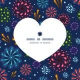 Teste padrão da silhueta do coração dos fogos-de-artifício do feriado do vetor Fotografia de Stock Royalty Free