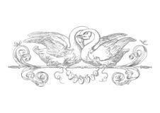 Teste padrão das cisnes da gravura Imagens de Stock