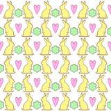 Teste padrão das cookies do coelhinho da Páscoa com flores e corações da mola Foto de Stock Royalty Free