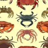 Teste padrão de ícones do caranguejo do vetor Imagem de Stock Royalty Free