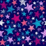 Teste padrão de estrelas esboçado Imagens de Stock