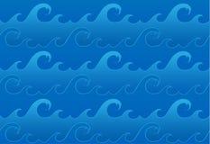 Teste padrão de ondas sem emenda do oceano do vetor Fotos de Stock