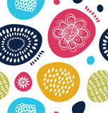 Teste padrão decorativo do vetor no estilo escandinavo Fundo abstrato com formas simples coloridas Fotografia de Stock Royalty Free