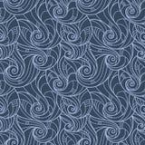 Teste padrão desenhado à mão sem emenda do vetor das ondas Foto de Stock Royalty Free