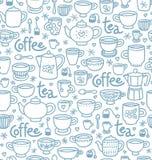 Teste padrão do chá e do café Fotografia de Stock Royalty Free