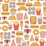 Teste padrão do fast food Imagens de Stock