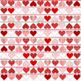 Teste padrão do fundo com corações vermelhos Foto de Stock Royalty Free