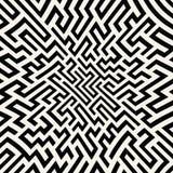 Teste padrão do labirinto da geometria do sumário do gráfico de vetor fundo geométrico sem emenda preto e branco Imagens de Stock Royalty Free