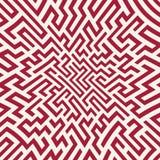 Teste padrão do labirinto da geometria do sumário do gráfico de vetor fundo geométrico sem emenda vermelho Fotos de Stock Royalty Free