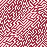 Teste padrão do labirinto da geometria do sumário do gráfico de vetor fundo geométrico sem emenda vermelho Imagens de Stock