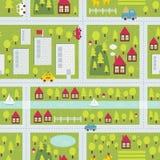 Teste padrão do mapa dos desenhos animados da cidade pequena. Imagens de Stock
