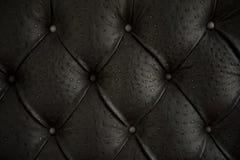 Teste padrão do upholstery preto do couro genuíno. Fotos de Stock