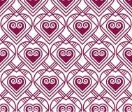 Teste padrão do vetor da cor do Marsala com coração Fotografia de Stock Royalty Free