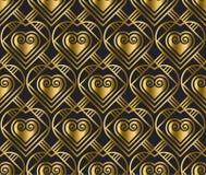 Teste padrão do vetor do ouro com coração no estilo do art deco Imagens de Stock