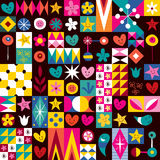Teste padrão dos corações, das estrelas e de flores Fotos de Stock Royalty Free