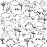Teste padrão dos dinossauros dos desenhos animados Foto de Stock Royalty Free
