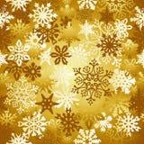 Teste padrão dos flocos de neve do Natal do ouro Fotografia de Stock