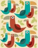 Teste padrão dos pássaros dos desenhos animados de Rero com folhas -2 Imagens de Stock Royalty Free
