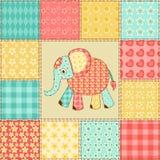 Teste padrão dos retalhos do elefante Imagens de Stock Royalty Free