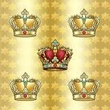 Teste padrão dourado das coroas Fotografia de Stock