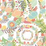 Teste padrão elegante com flores Imagem de Stock Royalty Free