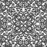 Teste padrão encaracolado preto e branco Fotografia de Stock Royalty Free