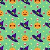 Teste padrão engraçado de Dia das Bruxas com bruxas chapéu, abóboras e poção mágica Imagem de Stock