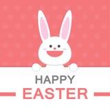 Teste padrão feliz do rosa do molde do cartão do vetor dos desenhos animados do coelho do sorriso do dia da Páscoa Imagem de Stock Royalty Free
