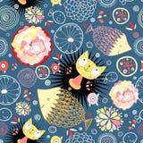 Teste padrão floral com gatinhos e peixes Imagens de Stock