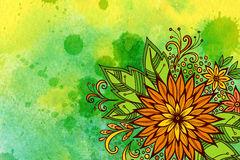 Teste padrão floral na pintura da aquarela Foto de Stock Royalty Free