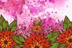 Teste padrão floral na pintura da aquarela Imagem de Stock