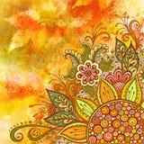 Teste padrão floral na pintura da aquarela Foto de Stock