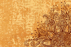 Teste padrão floral na textura de madeira Fotografia de Stock