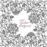 Teste padrão floral preto e branco do vetor Fotografia de Stock
