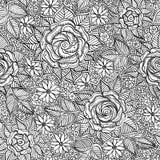 Teste padrão floral preto e branco sem emenda do vetor Fotos de Stock