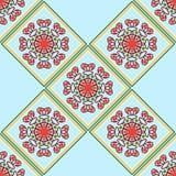 Teste padrão geométrico sem emenda, diamantes com uma flor vermelha Imagens de Stock
