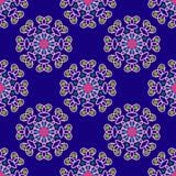 Teste padrão geométrico sem emenda, flores incomuns em um fundo azul Imagem de Stock
