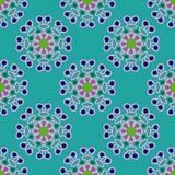 Teste padrão geométrico sem emenda, flores incomuns no fundo de turquesa Imagens de Stock Royalty Free