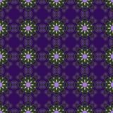 Teste padrão geométrico sem emenda, flores incomuns no fundo roxo Fotos de Stock Royalty Free