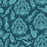 Teste padrão indiano sem emenda baseado em elementos asiáticos tradicionais Paisley Imagens de Stock