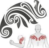 Teste padrão maori da tatuagem - camaleão Foto de Stock
