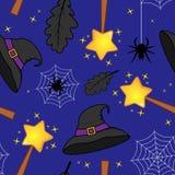 Teste padrão mágico do chapéu da bruxa da varinha de Dia das Bruxas Fotografia de Stock