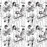 Teste padrão monocromático sem emenda dos músicos da rua do grupo Imagens de Stock Royalty Free