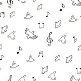 Teste padrão musical de tiragem dos pássaros Fotos de Stock Royalty Free