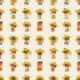 Teste padrão pessoa-sem emenda mexicano dos desenhos animados Foto de Stock