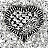 Teste padrão preto e branco do coração do vetor Fotografia de Stock
