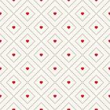Teste padrão retro sem emenda do vetor com corações Fotografia de Stock Royalty Free