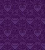 Teste padrão roxo do vetor com coração no estilo do art deco Fotos de Stock Royalty Free