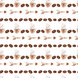 Teste padrão sem emenda abstrato no estilo retro com feijão de café, copo, caneca, seta Imagem de Stock