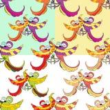 Teste padrão sem emenda ajustado com pares das caraíbas das danças engraçadas de parro Fotografia de Stock Royalty Free